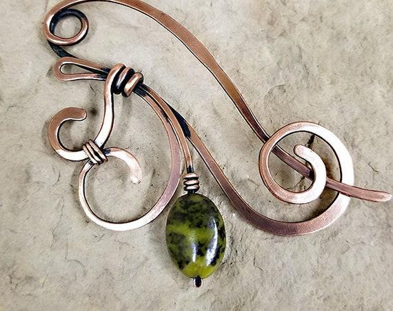 Jasper Fleur Shawl Pin, Sweater pin, brooch, hair pin, copper, green, serpentine jasper