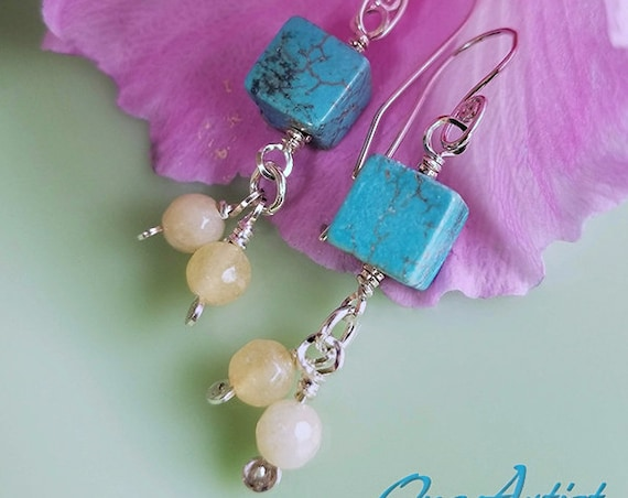 Sterling Silver, Turquoise, Calcedony, Earrings