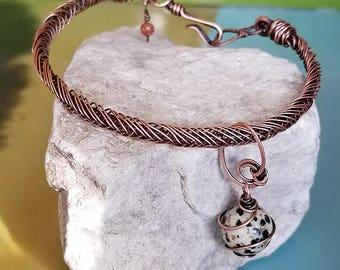 Minimalist Dalmation Jasper Bangle Bracelet, Goldstone, Braided Copper