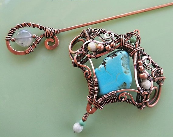 Turquoise Scarf Pin, Hair Pik, copper wirewrap, wire weave