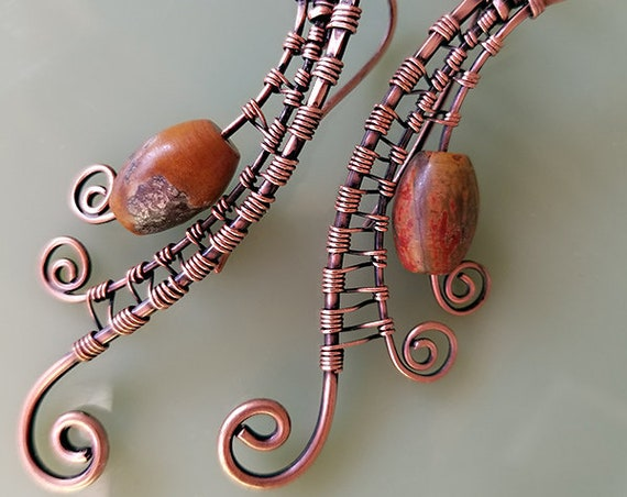 Rustic Wave Earrings, Picasso Jasper, copper wireweave, wire wrap, dangle, drop earrings