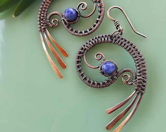 Blue Sodalite, Paisley Earrings, hand forged copper wire weave