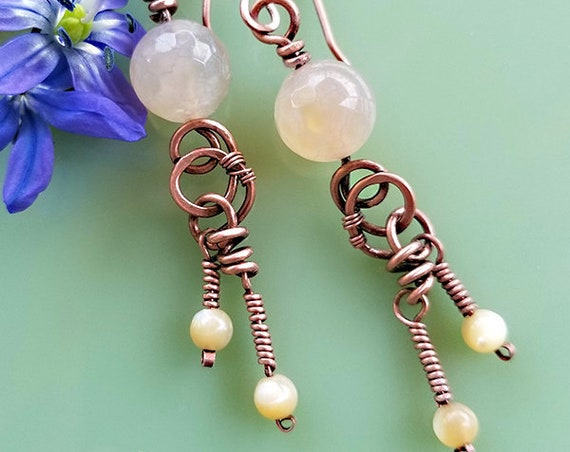 Peach Chalcedony Dangle Earrings, mother of pearl, hand forged copper wirewrap, neutral, buff