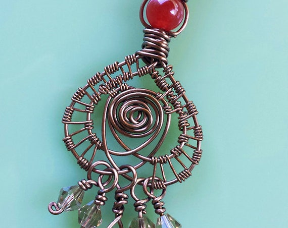 Lucky Rose in Spade Pendant, Necklace, Red Agate, Amber Crystal, Bronze Wire weave, boho, gothic