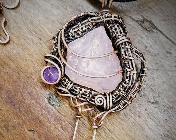 Rose Quartz Freeform Weave Pendant