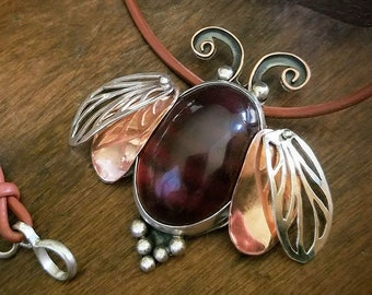 Bee Happy, Baltic Amber Pendant, sterling silver, copper