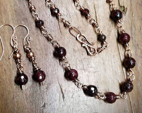 Almandine Garnet Necklace, Earrings /set