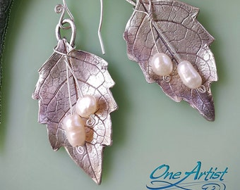Fine Silver Leaves, Pearl, Handmade Earrings
