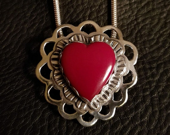 Roserita Heart Pendant with Ruby on reverse sidea