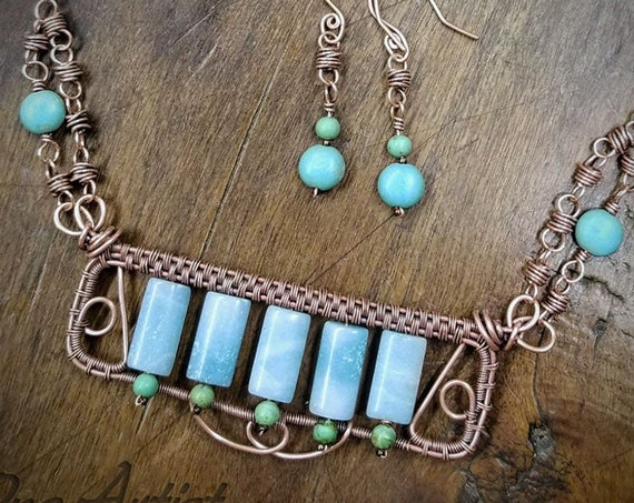 Larimar Bar Necklace, Earrings, Set