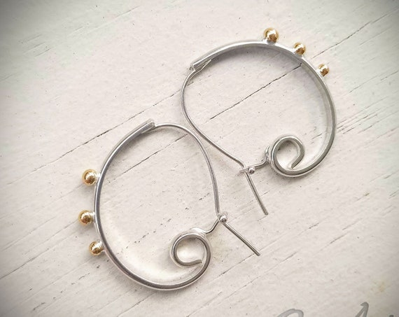 Studded Everyday Spiral Hoops, Mixed metal, Silver, Gold