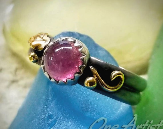 Pink Tourmaline Ring, Sterling Silver, 14k Gold
