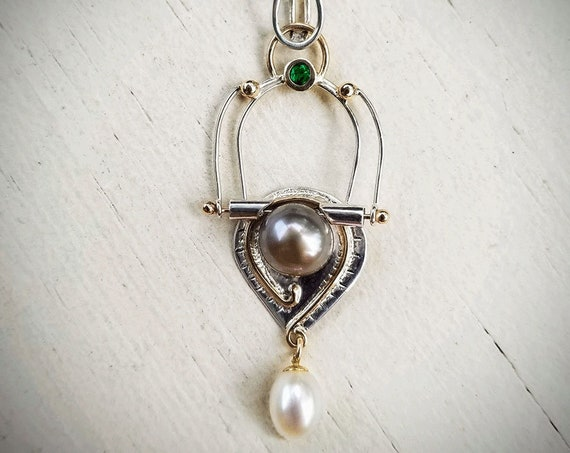 Mixed Metal Cultured Pearl & Emerald Pendant