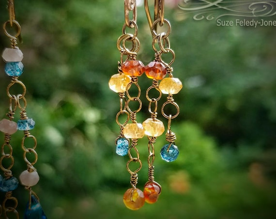 Dangling Garnets & Topaz Earrings