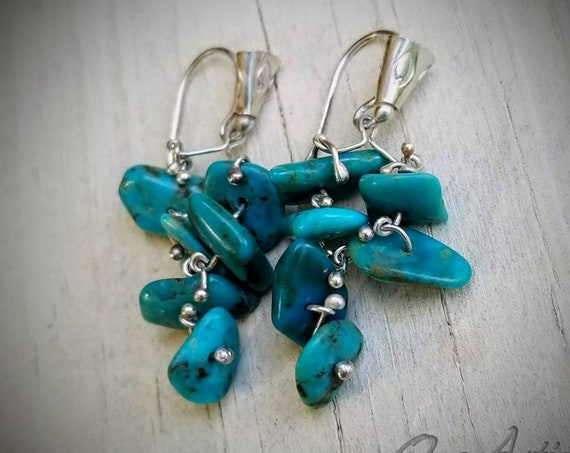 Kingman Turquoise Cluster Earrings