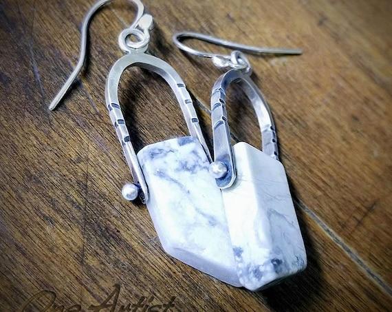 Laredo Hinged Earrings, Howlite, Sterling silver