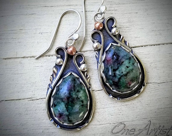 Ruby in Zoisite Drop Earrings
