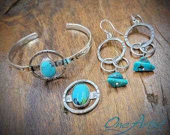Turquoise Set, Bracelet, Earrings, & optional Pendant or Ring