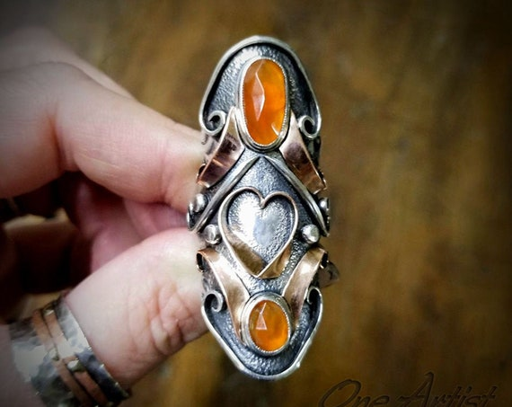 Irresolute Love, 2 Stone, Carnelian, mixed metal Ring