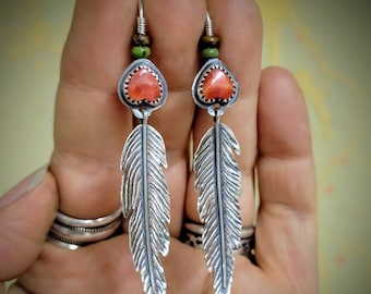 Silver Feather Earrings, Spiney Oyster, Turquoise