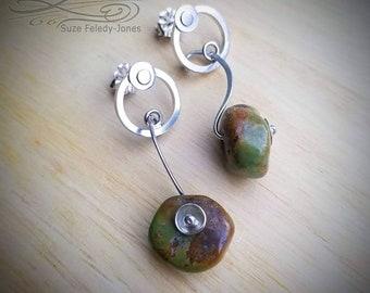 Swinging Nugget Earrings, Royston Turquoise