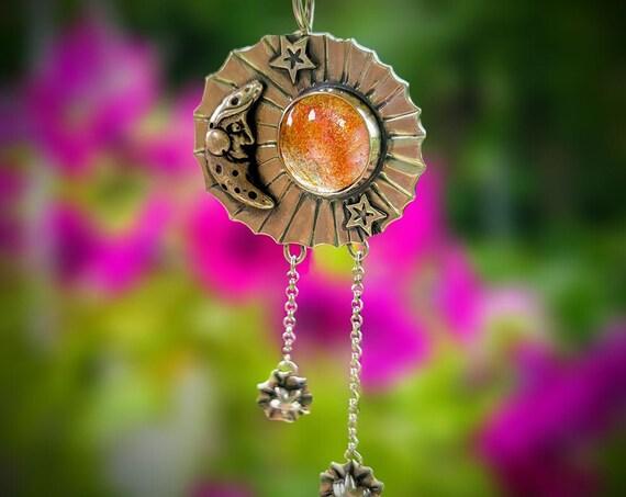 Celestial Sunstone Pendant, Sterling silver, Oregon sunstone