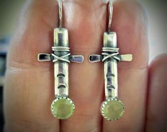 Criss -Cross Calcedony Earrings