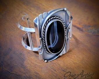 Black Sardonyx Cuff Bracelet
