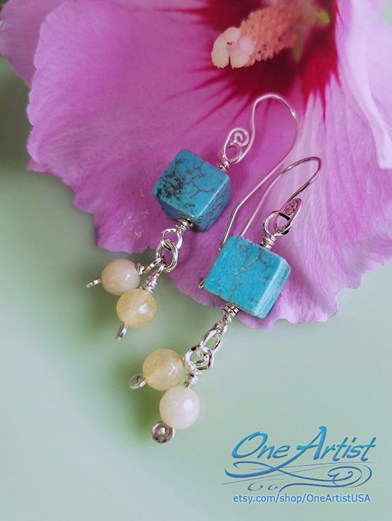 Sterling Silver Turquoise Calcedony Earrings image 0