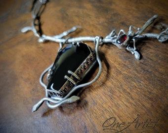 Hidden Neolates, Neck Piece, black onyx, rubellite garnet, sterling silver, snakes, spider, copper fire