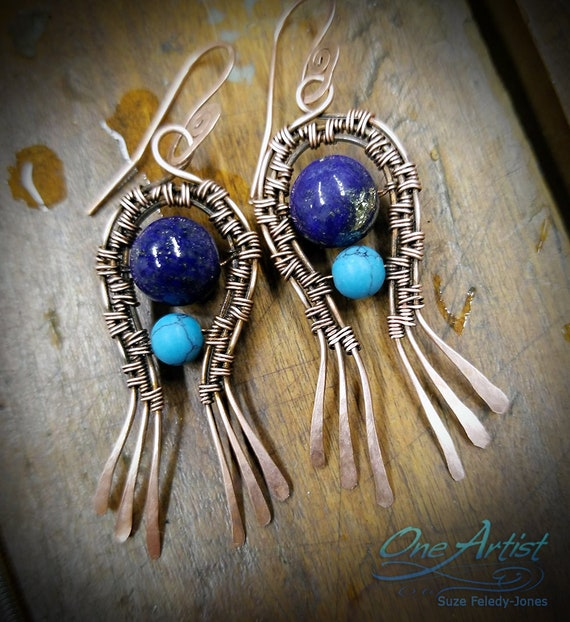 Two little Fishes Earrings, blue Lapis, copper wire weave
