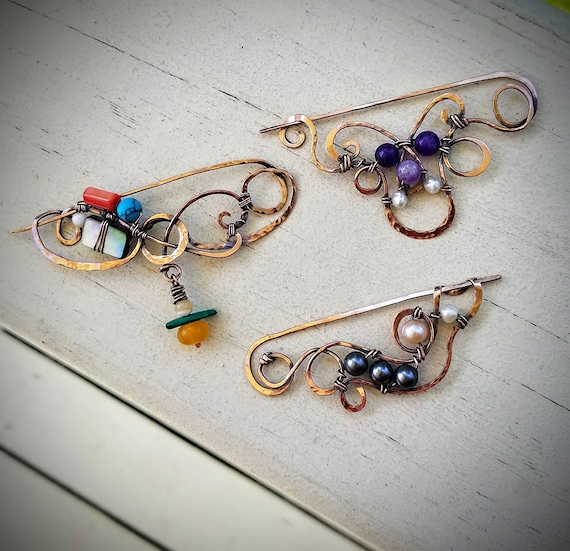 Copper Wrapped Gemstone Pins, for hair or garments