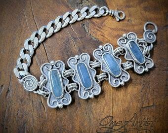 Aquamarine Bracelet, Sterling silver