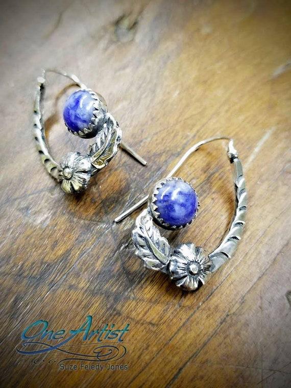 Blue Sodalite Half-hoop Earrings