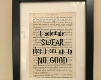 """Harry Potter """"I solemnly swear...."""" book quote wall art."""