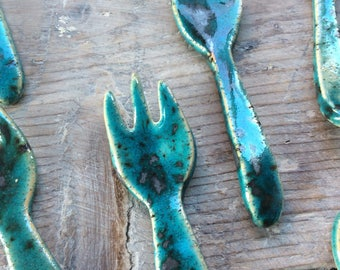 Handmade ceramic spoon or fork.  Turquoise & silver speckles, kitchen decour, tableware gift Comtemporary rustic pottery