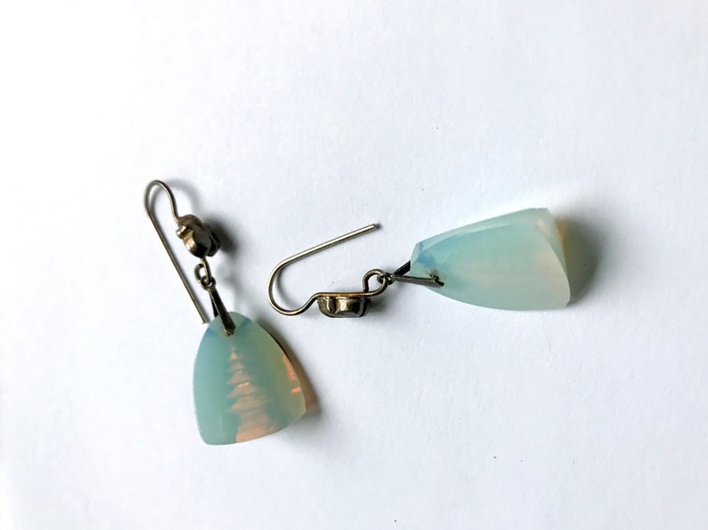 Vintage sterling silver Japanese Asian opalescent glass etched pagoda pierced earrings