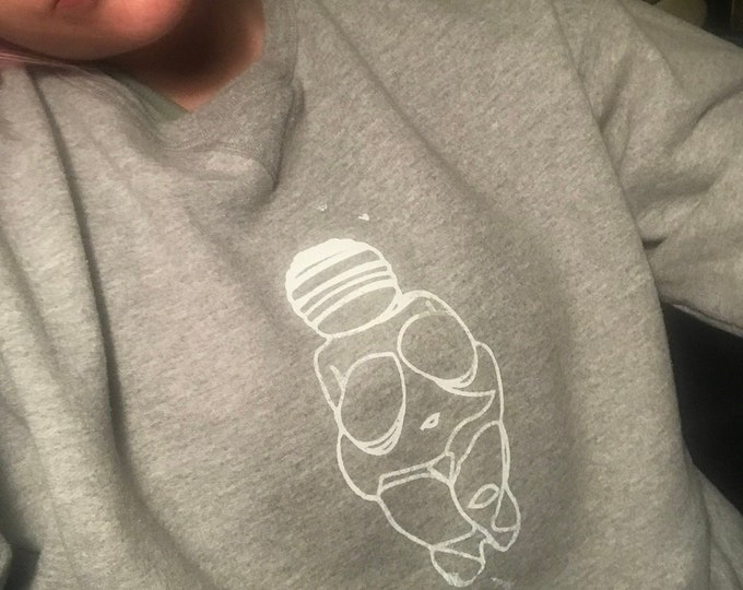 Venus of Willendorf screenprinted grey and white sweatshirt- unisex and one of a kind!