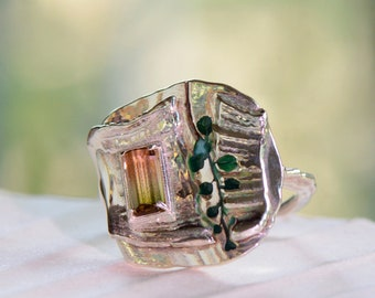 Pink-Green Tourmaline and Silver Statement Ring, Size 7