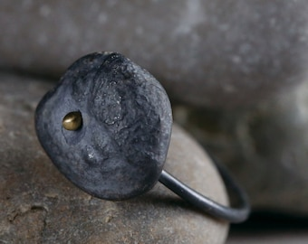 Etched Black Silver Pebble Ring, Artisan Handcrafted