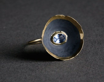 Yellow Gold Flower Bowl Ring with Aquamarine