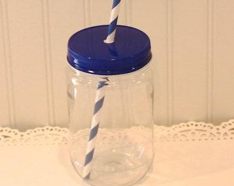 Plastic Mason Jars, 10 Plastic Mason Jar Cups with Royal Navy Metal Straw Hole Lid, Plastic Mason Glass, Plastic Cups, Party Cups, Kids Cup