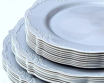 Vintage Style Modern Elegance Wedding Plates Grey Disposable Plates Elegant Wedding Rehearsal Plates Plastic Party Plates Stylish Party  sc 1 st  Etsy & Vintage Style Modern Elegance Party Plates Grey Disposable