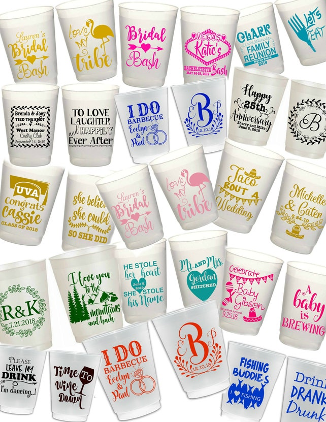 Personalized Plastic Cup Wedding Cups Plastic Cups Party Etsy