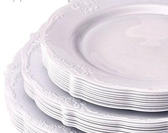 Modern Vintage Wedding Plates Grey Vintage Slate Disposable Plates Elegant Wedding Rehearsal Plates Plastic Party Plates Stylish Party  sc 1 st  Etsy & Vintage Style Modern Elegance Party Plates Pink Disposable