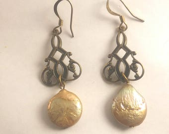 Vintage Filigree Drop Foil Earrings