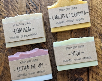 Unscented Organic Soap - All Natural, Handmade, and Palm Oil Free Bar Soap for Sensitive Skin; Eco Friendly Gift; Sustainable Skincare