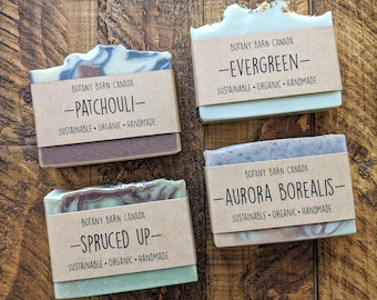 Earthy & Woodsy Scented Organic Soap - Natural Handmade Essential Oil Bar Soap, Palm Oil Free, Sustainable and Eco Friendly; Self-Care Gift
