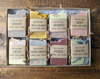 Soap Gift Set of 8 - Organic Soap Sampler, Luxury Bath Gift, Sustainable Handmade Gift, Eco-Friendly Wellness Gift, All Natural Care Package