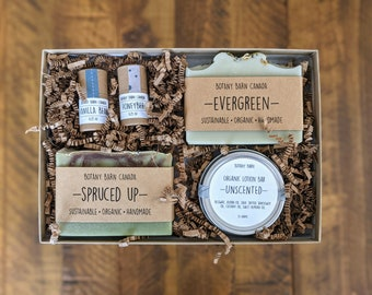 Personalized Organic Gift Set, Bath & Body, Luxury Bath Gift, Sustainable Gift for Her, Handmade Soap, Organic Lotion, Eco Friendly Lip Balm